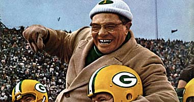 Green Bay Packers coach Vince Lombardi won five championships in seven years and is the only coach to win three straight.